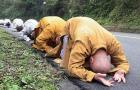 Buddhist Monks Make 500 Mile Journey on Their Knees: