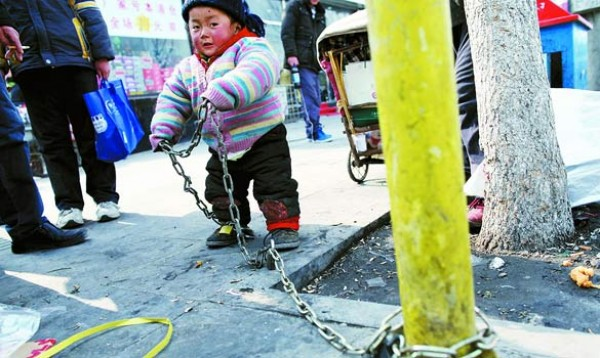 2 Year Old Chained to Pole in Beijing for Safety picture