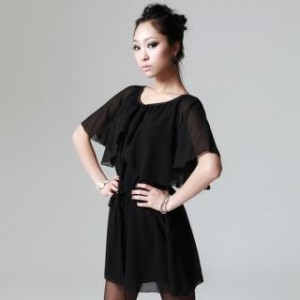 Flutter Sleeve Chiffon Dress