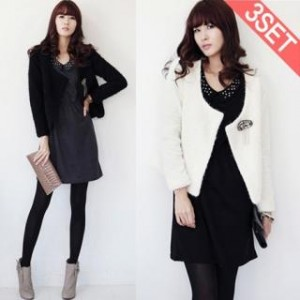 Set: Open Jacket + Bejeweled Dress + Brooch