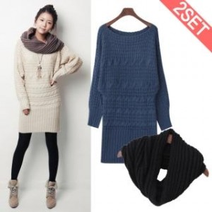 Set: Sweater Dress + Circle Knit Scarf