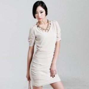 V-Neck Shirred Chiffon Dress