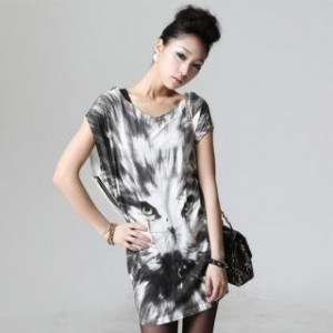 Zipper Printed T-Shirt Dress