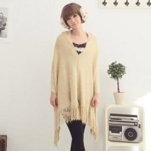 Faux-Fur Fringed Cape
