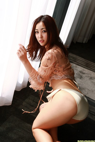 Minase in off-white lingerie buttocks exposed
