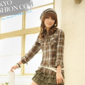 Tab-Sleeve Plaid Blouse