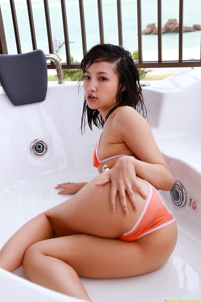 Rola in orange lingerie on the tub