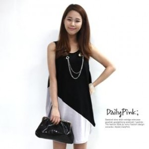 Color-Block Balloon-Hem Tank Dress