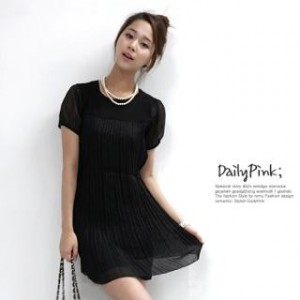 Short-Sleeve Pleated Chiffon Dress
