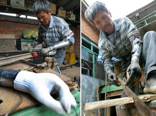 Poor Chinese Amputee Builds His Own Prosthetic Arms picture