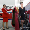 North Korea flight attendants in old and new uniforms
