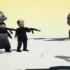 Panda and Chairman Mao with AK-47s