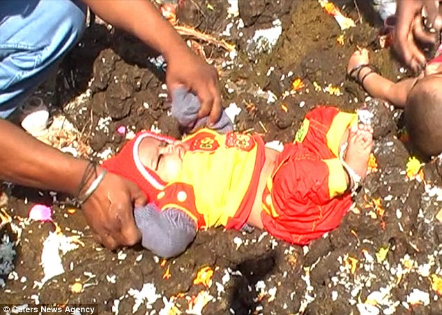 Indian Children Rolled In Cow Poop For Good Luck